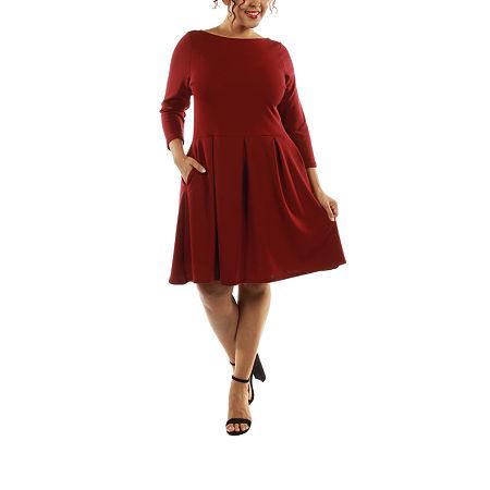 24/7 Comfort Apparel The Classic A-Line Dress-Plus, 3x , Brown