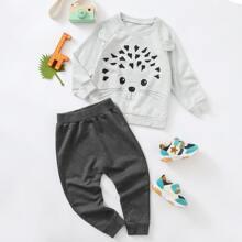 Sweatshirt mit Karikatur Muster und Jogginghose