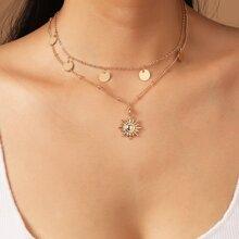 Sun & Coin Layered Necklace