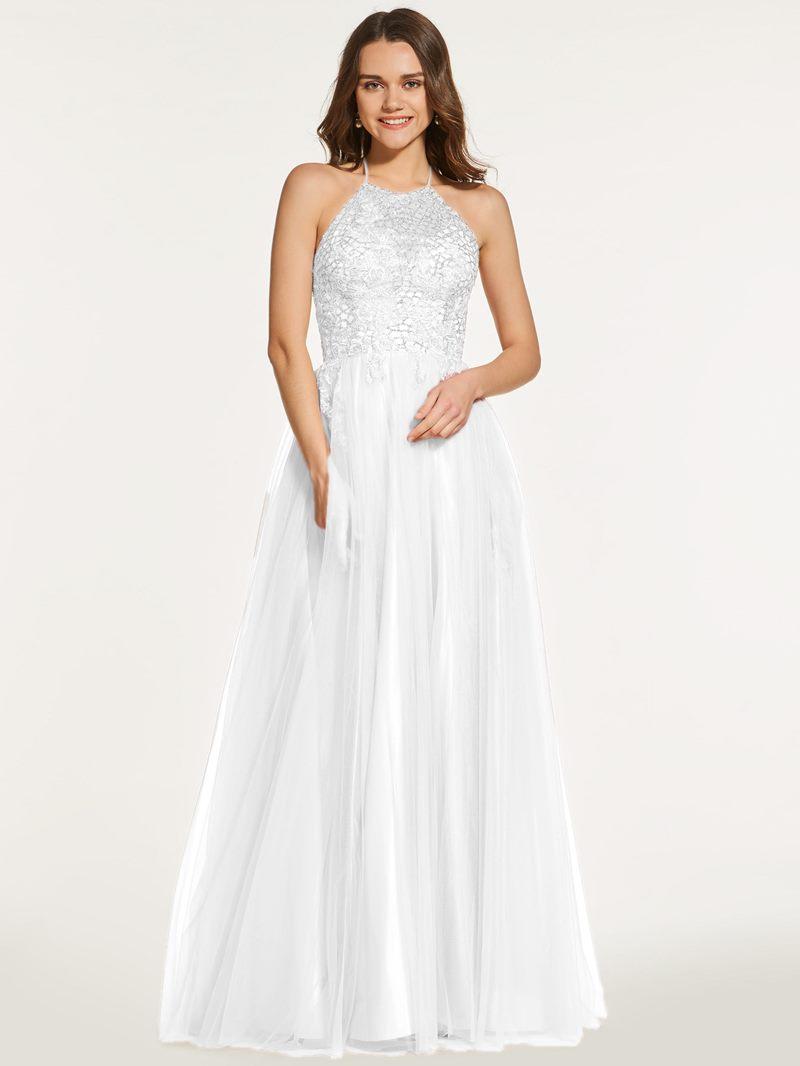 Ericdress A Line Halter Backless Sequin Prom Dress