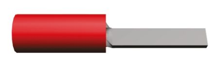 TE Connectivity , PIDG Insulated Crimp Blade Terminal 12mm Blade Length, 0.26mm² to 1.65mm², 22AWG to 16AWG, Red (100)