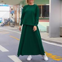 Drop Shoulder Solid Pullover & Skirt Set