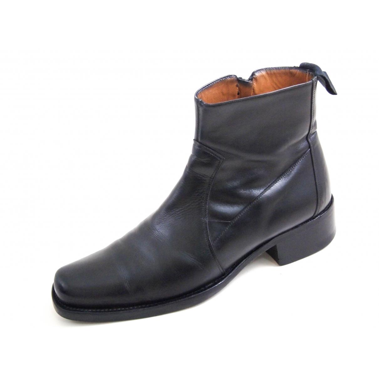 Cesare Paciotti N Black Leather Boots for Men 41 EU