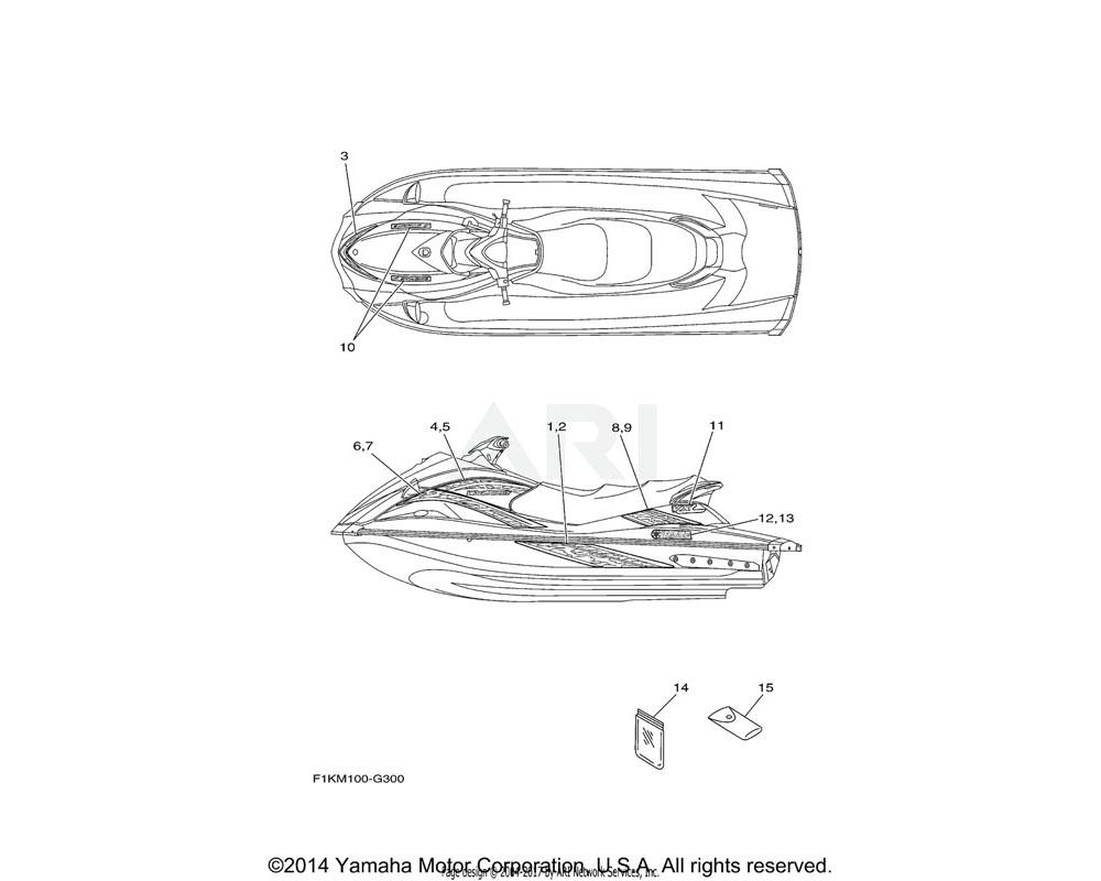 Yamaha OEM F1K-U417G-A0-00 GRAPHIC, 6 (RH) | CRUISER WHITE