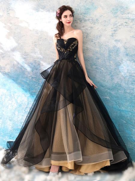 Milanoo Vestidos de novia goticos Princesa Silueta Sin mangas Tul plisado Barrer Vestido de novia