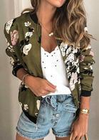 Floral Zipper Long Sleeve Coat - Army Green