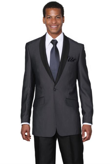 Mens Midnight Blue Shawl Collar Slim Fit Tuxedos