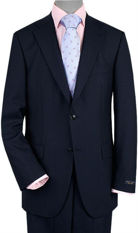 Mens 2 Button Vented Navy No Pleats Suit