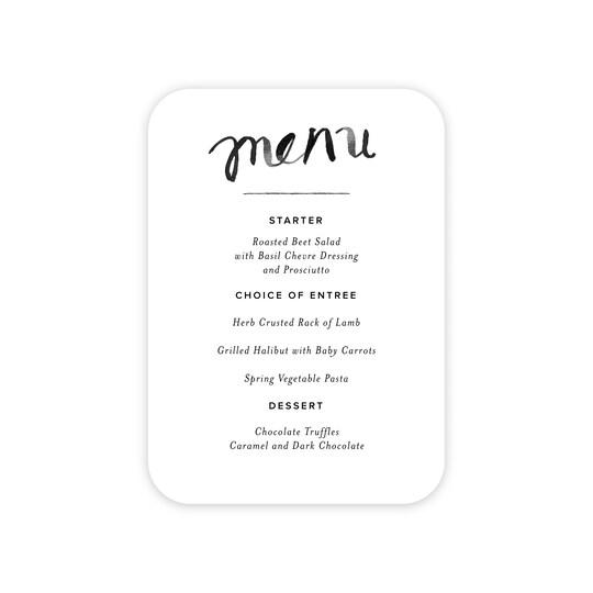20 Pack of Gartner Studios® Personalized Modern Love Flat Wedding Menu Card in White | 5