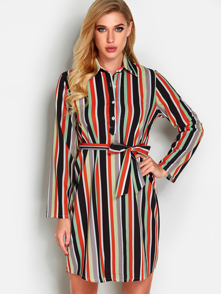 Yoins Stripe Button Design Lapel Collar Long Sleeves Loose Waist Dress