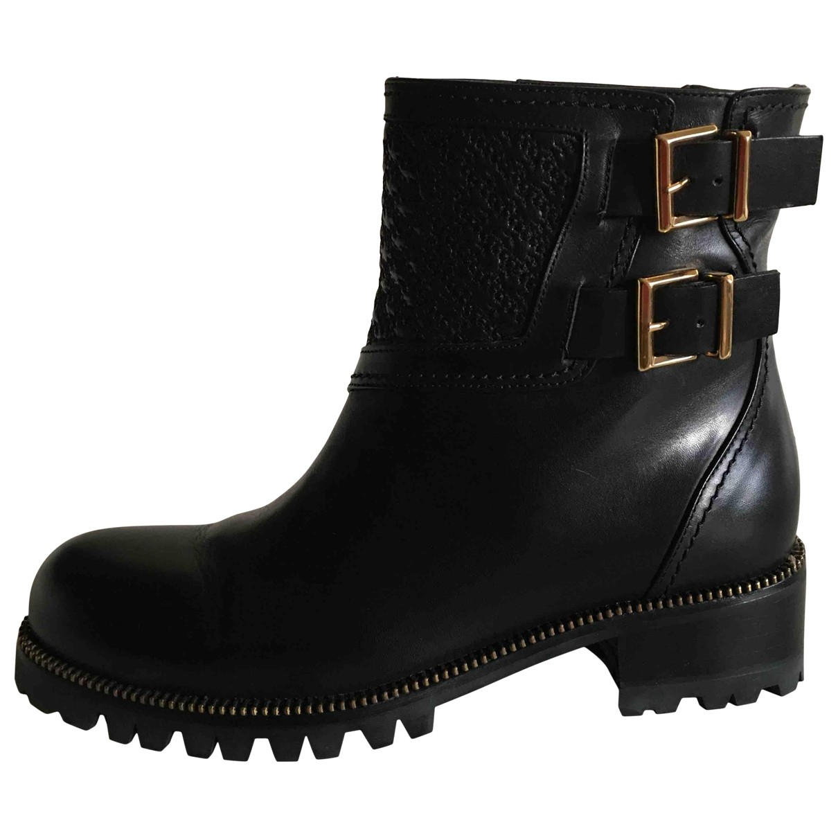 Non Signé / Unsigned \N Black Leather Ankle boots for Women 37.5 IT