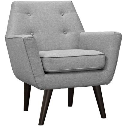 Posit Collection EEI-2136-LGR Armchair with Espresso Stained Rubberwood Tapered Legs  Non-Marking Foot Caps  Dense Foam Padding and Polyester Fabric