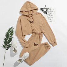 Butterfly Embroidery Raw Hem Hoodie & Sweatpants Set