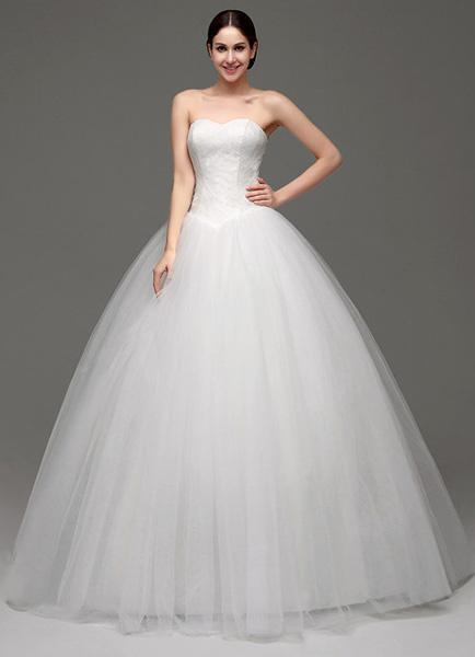 Milanoo Vestido de novia de tul con escote palabra de honor de encaje hasta el suelo