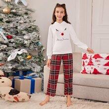 Weihnachten Schlafanzug Set mit Buchstaben Grafik und Karo Muster
