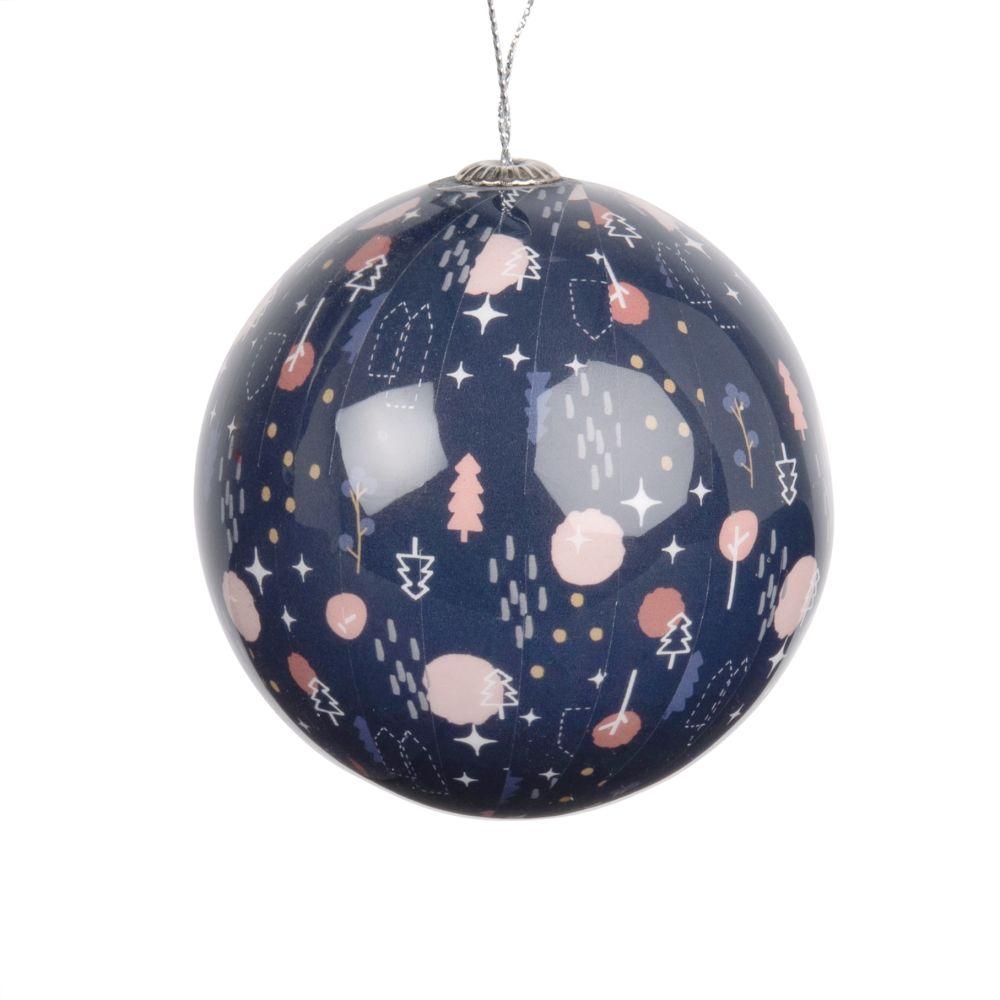 Weihnachtskugel aus Papier, blau mit grafischem Druckmotiv
