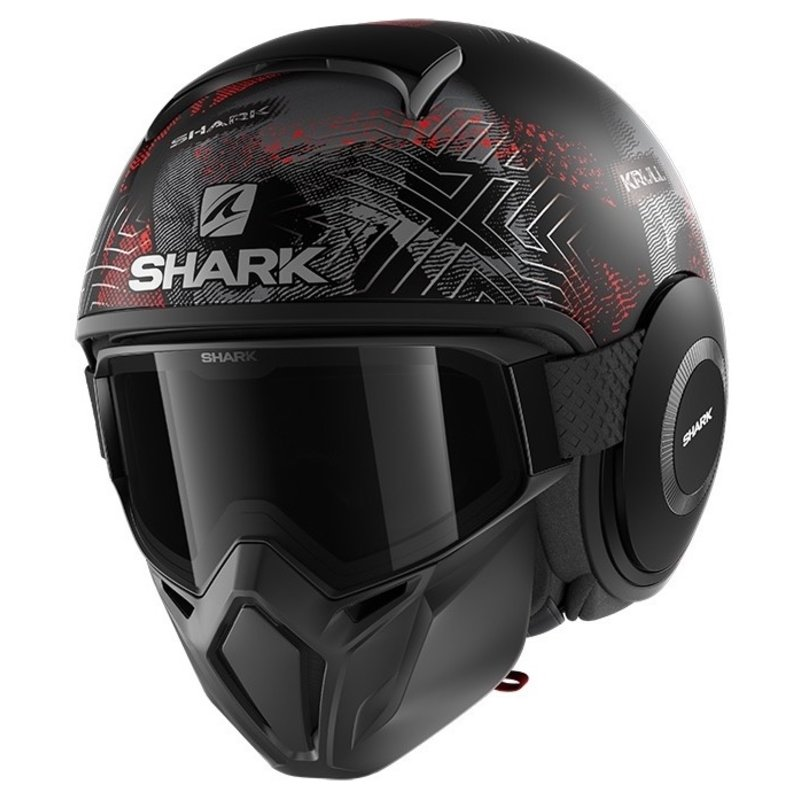 Shark Street Drak Krull Mat Black Silver Red Jet Helmet XL