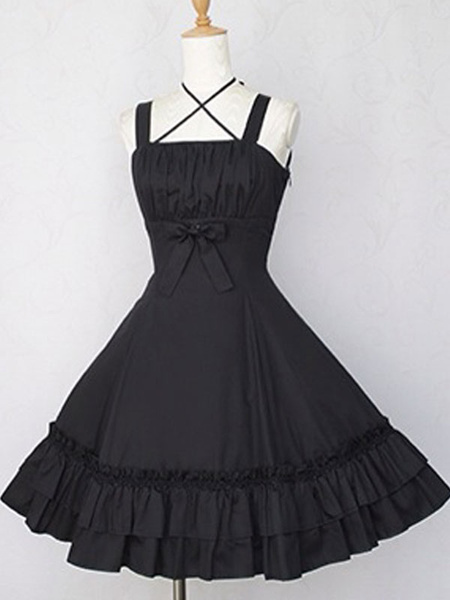 Milanoo Classic Lolita JSK Dress Black Sleeveless Ruffles Lolita Jumper Skirts
