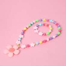 2 Stuecke Kleinkind Maedchen Halskette mit Blumen Dekor & Armband