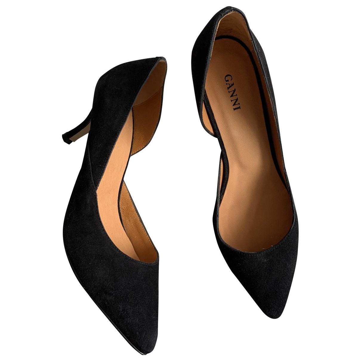 Ganni \N Black Suede Heels for Women 37 EU