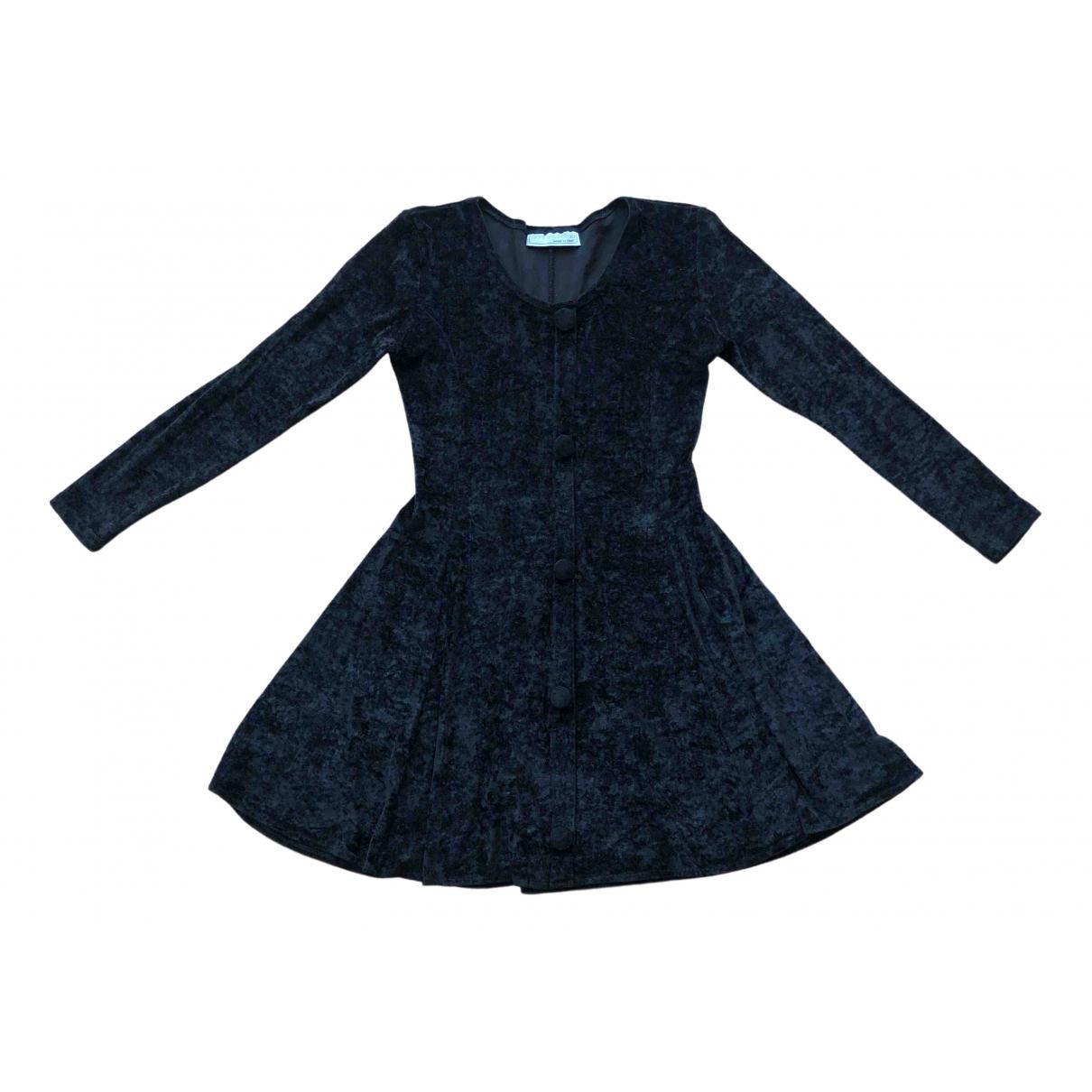 Non Signe / Unsigned \N Kleid in  Schwarz Samt