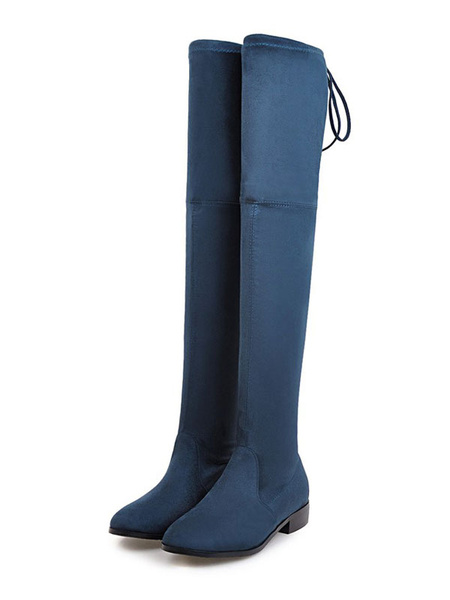 Milanoo Thigh High Boots Womens Micro Suede Round Toe Flat Heel Over The Knee Boots