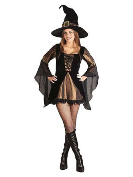 Milanoo Halloween Witch Costume Black Women Dresses And Hat Costume Outfit