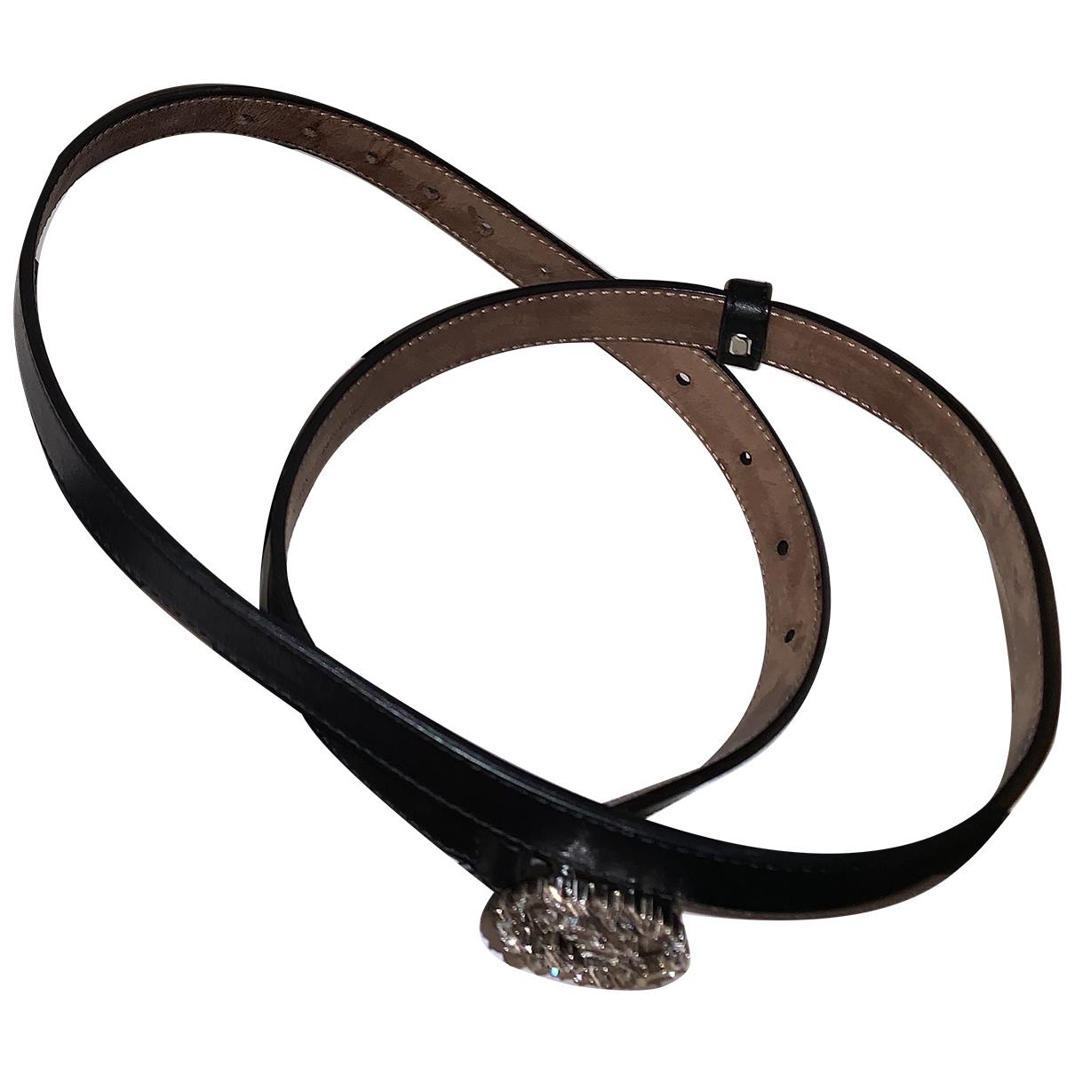Gucci Interlocking Buckle Black Leather belt for Women 75 cm