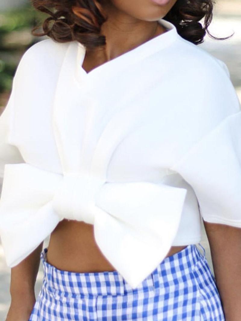 Ericdress V-Neck Bowknot Fashion Short Blouse
