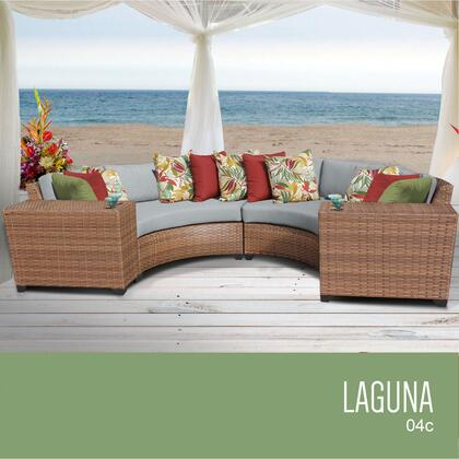 LAGUNA-04c-GREY Laguna 4 Piece Outdoor Wicker Patio Furniture Set 04c with 2 Covers: Wheat and