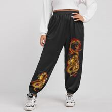 Plus Chinese Dragon Print Sweatpants