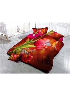 Red Tulip Wear-resistant Breathable High Quality 60s Cotton 4-Piece 3D Bedding Sets