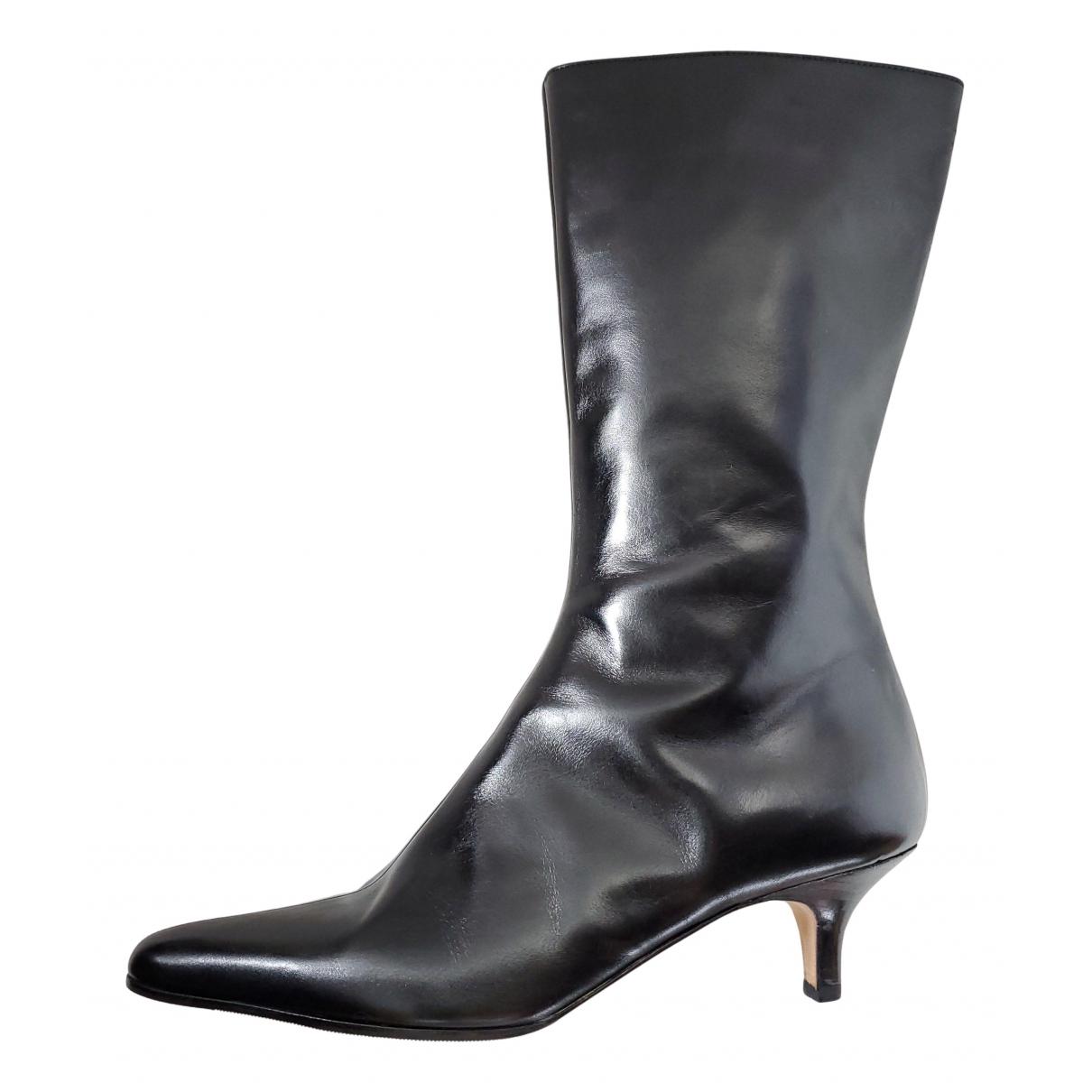 Manolo Blahnik \N Black Leather Ankle boots for Women 38 EU