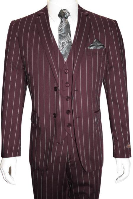 Men's Bold Gangster 1920s Vintage Dark Burgundy ~ White 2 Button Suit