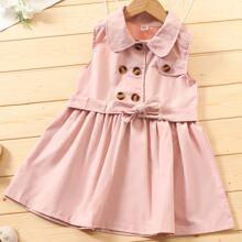 Kleinkind Maedchen Kleid mit Zweireihig und Guertel