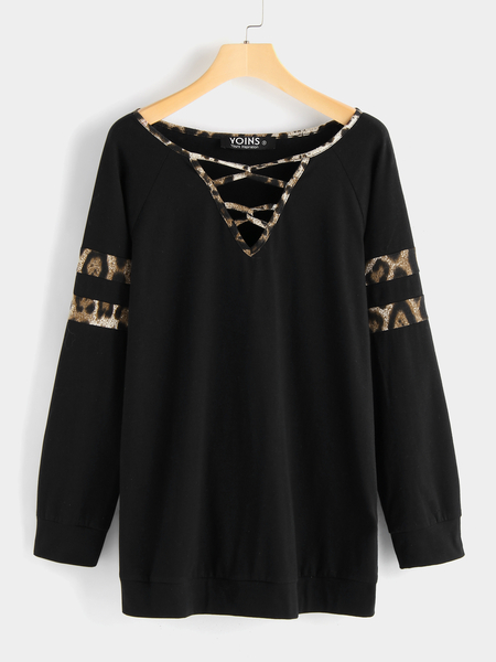 Yoins Black Leopard Criss Cross Long Sleeves T-shirt