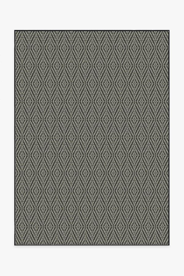 Washable Rug Cover | Outdoor Halo Diamond Black Rug | Stain-Resistant | Ruggable | 5'x7'