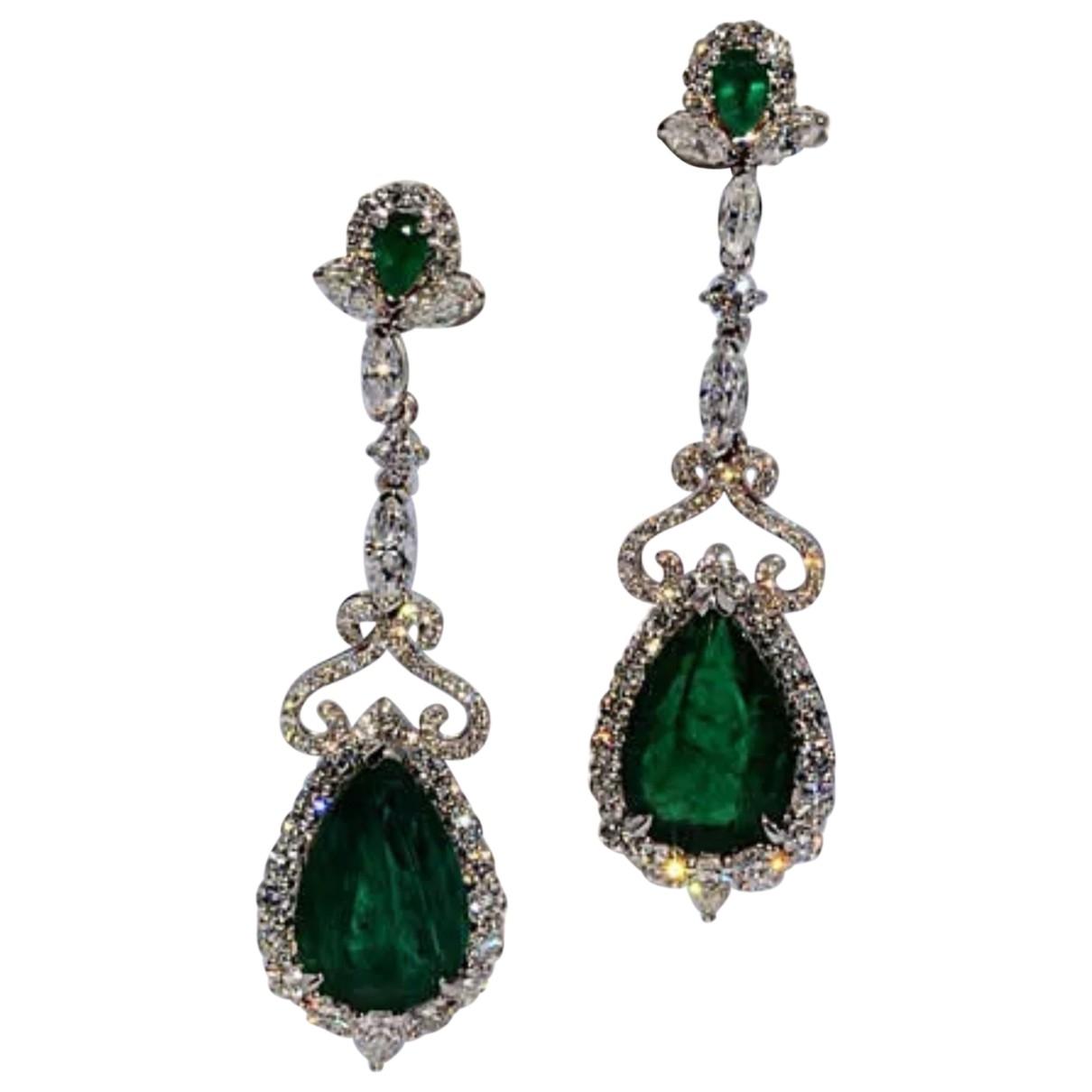 - Boucles doreilles Emeraude pour femme en or blanc - vert