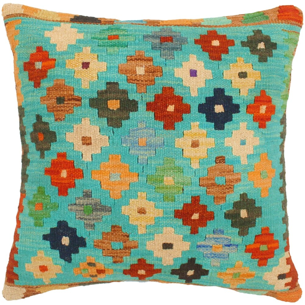 Vintage Alysa Hand-Woven Turkish Kilim Throw Pillow 18 in. x 18 in. (Accent - 18 in. x 18 in. - Polyester - Blue - Single)