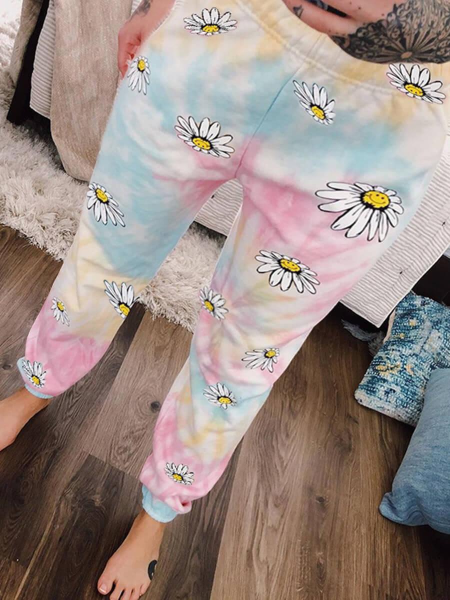 LW Lovely Casual Tie-dye Sunflower Print Multicolor Plus Size Pants