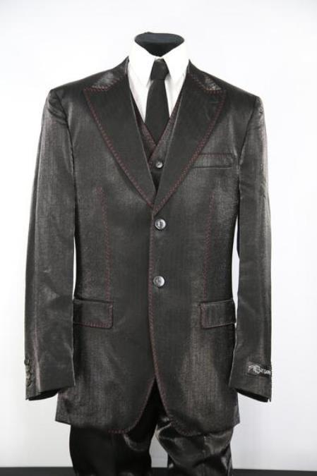 Mens Sharkskin Entertainment Stitch Button Fastener Black Zoot Suit