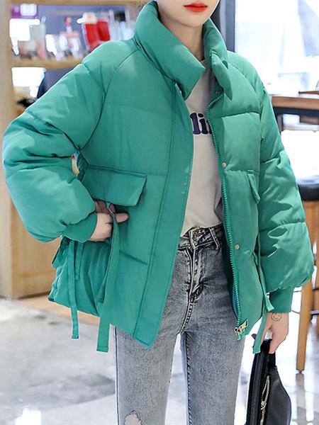 Milanoo Abrigos acolchados para mujer Crudo blanco Cuello alto corto Cremallera Mangas largas Abrigo de invierno acolchado academico Prendas de abrigo
