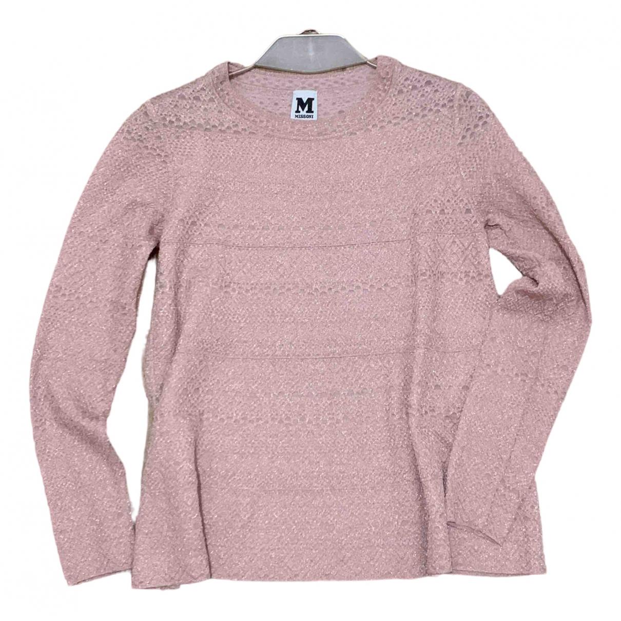 M Missoni - Top   pour femme en a paillettes - rose