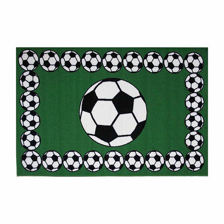 Soccer Time Rectangular Indoor Rugs, One Size , Green