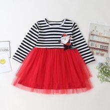 Toddler Girls Christmas Print Mesh Panel Dress