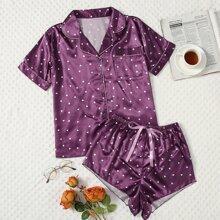 Satin Schlafanzug Set mit Herzen Muster und Taschen vorn