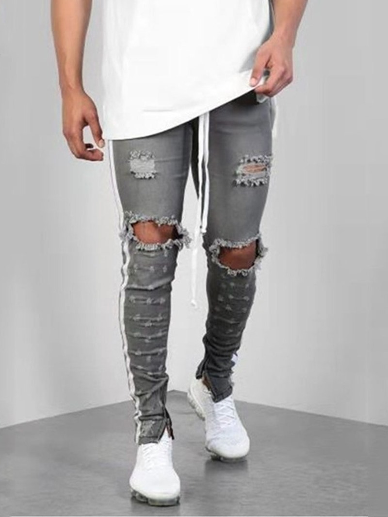 Ericdress Thin Color Block Mens Zipper Jeans