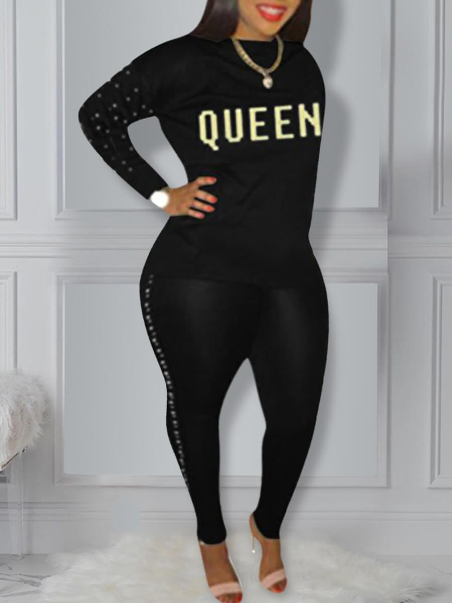 LW Lovely Sportswear O Neck Letter Print Black Plus Size Two-piece Pants Set