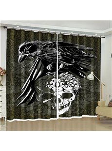 Cool Festival Decorative 3D Halloween Curtain with Scary Skull and Eagle Images