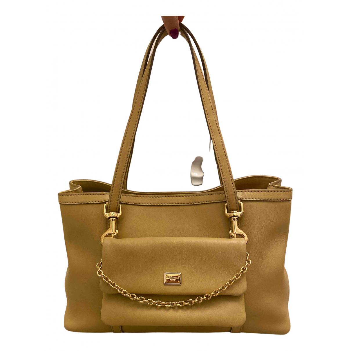 Dolce & Gabbana - Sac a main   pour femme en cuir - camel